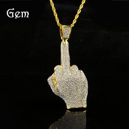 Wholesale Full Halloween - Middle Finger Diamond Necklace Street Wind Heavy Drill Full Diamond Alloy Big Finger Pendant Vertical Middle Finger Hip Hop Necklace