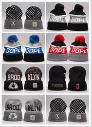 Wholesale Dope Winter Hats - 2017 HOT Dope Knitting Hats Men's Winter Knitted Skull Cap Warm Slouchy Dope Beanie Hat hip-hop Gray Black Simple Hats