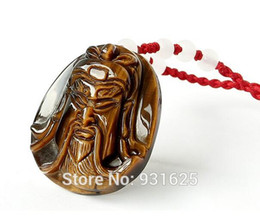 hand carved stone pendants Coupons - 100% Natural Tiger's Eye Gem Stone Hand Carved GuanGong Pendant + free Rope Necklace Lucky Pendant Fine Jewelry Wholesales