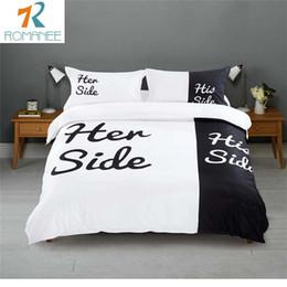 Wholesale Linen King Size Bedspread - Wholesale- Romanee Brand Home Bedding sets Queen King Size Double Bed Black White Bedspread 3pcs 4pcs Bed Linen Couples Duvet Cover Set