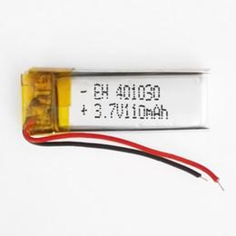 Wholesale Pens Headphones - wholesale 3.7v 110mAh Lithium Polymer LiPo Rechargeable Battery li ion cells For Mp3 bluetooth Recorder headphone headset pen 401030