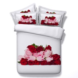 Wholesale 3d Red Rose Bedding Sets - Fashion Red Rose 3D Printed Fabric Cotton Bedding Sets Twin Full Queen King Size Duvet Covers Pillow Shams Comforter Valentine Gift Flower