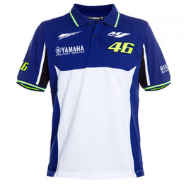 Wholesale Bike Sizes For Men - 2017 VR46 t shirt Polo Shirt Racing Team Moto GP for Yamaha Motorcycle T-Shirts men's bike sports short sleeves blue white shirt