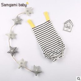 Wholesale White Overalls Baby Boy - Ins Baby Onesies 2017 Summer Baby Clothes Baby Romper Sleeveless Striped Romper Overalls Jumpsuits Toddler Outfit Infant Outwear 144