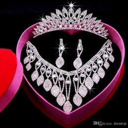 Wholesale Classics Beaded Earrings - Romantic Shining Beaded Rhinestone Bridal Tiara Necklace Earring Jewelry Sets Wedding Accessories For Wedding Evening Party