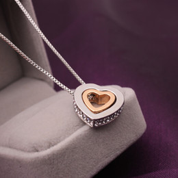 Wholesale Neclace Pendants - Hollowout full of crystal Douvle Heart Pendant neclace for woman and lovers NE772