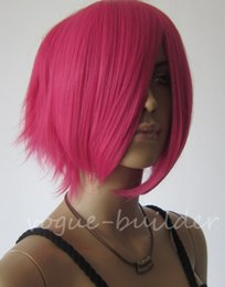 Wholesale Shaggy Wigs - Freeshipping havana african american woman >>Short Heat resistant Hot Rose Pink Hand Spikeable Shaggy Cosplay Wig +Cap