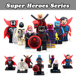 Wholesale Mini Super Heroes - 120pcs Mix Lot Super Heroes Series Minifig Doctor Strange Moon Knight Hydra Captain America PG8014 Minifig Mini Building Blocks Figures