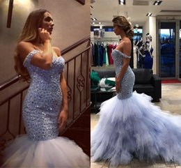 Wholesale Sweetheart Luxury Crystal Short Dress - 2018 Luxury Mermaid Evening Dresses Off Shoulder Crystal Beaded Tiered Ruffles Lavender Pageant Dresses Plus Size Saudi Arabic Evening Gowns