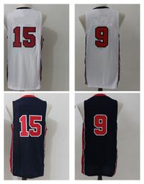 Wholesale Dream Team - 1992 Dream Team USA basketball jerseys Men's #9 #15 White Blue Jerseys Rev 30 100% Stitched Jersey