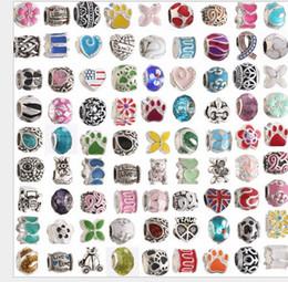 Argentina Venta al por mayor tema mixto 100 unids plata perlas de esmalte de cristal suelta encantos europeos del grano Fit Pandora serpiente pulsera de cadena DIY joyería de moda cheap enamel chain Suministro