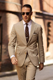 Wholesale Three Button Suit Sale - Hot Sales Mens Suits Business Style Peaked Lapel Two Buttons Tuxedo Formal Two Pieces Tweed suit brown