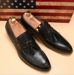 Wholesale Man Black Formal Shoes - luxury brand mens pointed toe dress shoes famous loafer male gents formal wear ballet flats zapatos hombre oxford shoes for men
