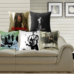 Wholesale Walking Dead Fabric - Pillowcase The Walking Dead Cushion Cover Polyester Cotton Chair Sofa Home Decor Throw Pillow Cover Decorative Pillow