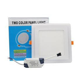 Panel led azul online-Ultra delgado 6W 9W 18W 24W Redondeado doble color LED Panel Light Cool White + Blue Lámpara Downlight AC100-265V