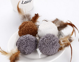 Wholesale cat toys free shipping - Free shipping cat playing toys soft plush ball with feather catnip 20pcs lot