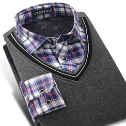 Wholesale Thickening Plaid Shirt - CAIZIYIJIA 2017 Winter Men Long Sleeve False Two Pieces Shirt Thicken Warm Plaid Shirts Knited Slim Fit Casual Pullover Sweaters