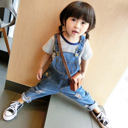 Wholesale Jeans Jumpsuit Baby Girl - New Autumn Girls Baby Clothes Boys Clothes Children Suspender Thouser Toddler Suspender Jeans Hole kids Jumpsuit pants Girls Trousers A753