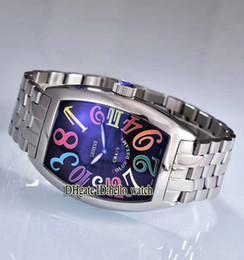 Billige uhrenarmbänder online-Günstige New CRAZY HOURS Farbe Zahlen 8880 CH Schwarzes Zifferblatt Automatische Herrenuhr Edelstahl Armband Hohe Qualität Neue Uhren