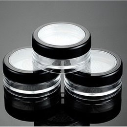 Wholesale Plastic Pp Cap - 10g Black Clear Cap Loose Powder Compact With The Grid & Lid PP Powder Jar Packing Container Empty Powdery Cake Box F2017892