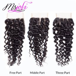 Wholesale Lace Closures Queen - Malaysian Virgin Human Hair Queen Hair Deep Wave Natural Black 4*4 Lace Top Closure Free MiddleThree Parts From 6-22 Inches