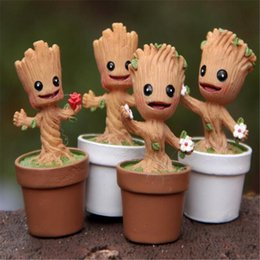 Wholesale Soft Toy Flowers - Miniature Garden Guardians of The Galaxy Cute Plastic with Tree People Flower Pot DIY Doll Anime Dolls Soft Children Action Figure Toys DHL