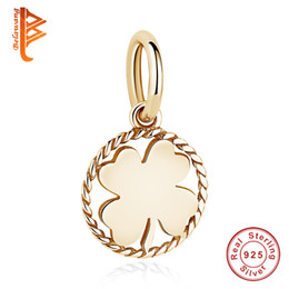 Wholesale Gold Silver Charms Fit Bracelet - BELAWANG Four Leaves Clover Charm Beads Rose Gold Round Shape Pendant Gift Fit Original Pandora Bracelet&Necklace DIY 925 Jewelry Making