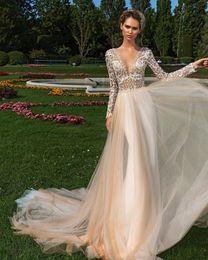 Wholesale Ling Dresses - Deep V Neck Ling Sleeve Wedding Dresses Bling Rhinestone Beads Champagne Sweep Train Country Wedding Dress Elegant Bohemian Bridal Gowns