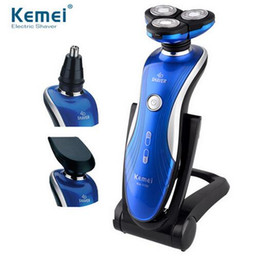 Wholesale Electric Rotary Shaver - KM-1150 washable Rechargeable 360 Degrees Rotary 3in1 electric shaver floating 3D shaving man face care nose ear hair trimmer