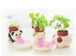 Wholesale Flower Pot Animals - Peropon Auto watering plant chuppon Toy 10cm Self Drinking Planter pot system kids gift Drinking Animal mouse Planter d0