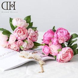 Wholesale Camellia Bouquet For Weddings - DH peony camellia flower bouquet artificial flowers for home decoration accessories artificial peonies wedding decor