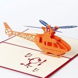 Wholesale Wholesale Christmas Thank Cards - New 3D Pop Up Greeting Cards Helicopter Happy Birthday Thank You Christmas Greeting Cards free shipping