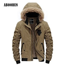 Wholesale Mens Bomber Jacket Fur - Wholesale- ABOORUN 2017 Winter Mens Hooded Faux Fur Collar Jacket with Fleece Male Casual Warm Bomber Jacket and Coat Black Army P8024