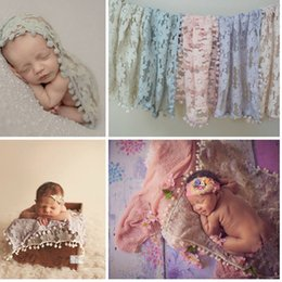 Wholesale Baby Wraps Photo - Newborn Baby Tassel Wrap Cloth Photo Photography Prop Outfits Cloth Backdrop Handmade Lace Scarf Baby Photo Props Accessories
