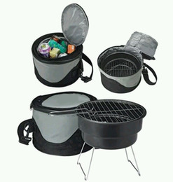 Wholesale Bbq Grill Stove - mini cast iron BBQ charcoal grill outdoor simple Charcoal Commercial BBQ charcoal grill with cooler bag camp stove