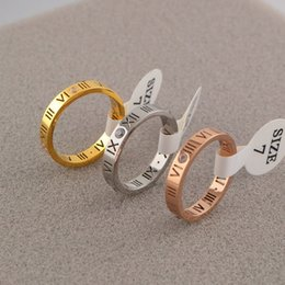 Wholesale Roman Engagement Rings - Agood 18k rose gold couple rings for lovers women men roman numerals ring with rhinestone fashion jewelry