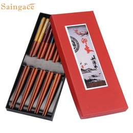 Wholesale Wholesale Japanese Chopsticks - Wholesale- 5 Pairs Japanese Natural Beech Wood Chopsticks Chinese Set Handmade Gift Pack Wonderful2.16 20%