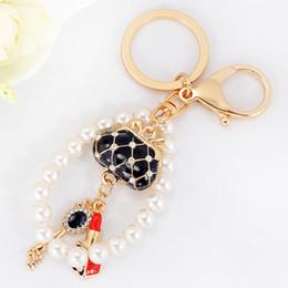 Wholesale Wholesale Pearl Keychain - 2017 New Originality Lady's Handbags Shape with Pearl Metal Keychain Keyring Car Keychains Purse Charms Handbag Pendant Best Gift