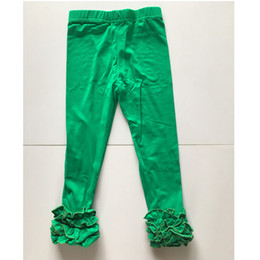 Wholesale Gray Legging Child - fern green tights children ruffle Christmas pants toddler girl icing leggings for Christmas girl wholesale ruffle legging tights bulk order