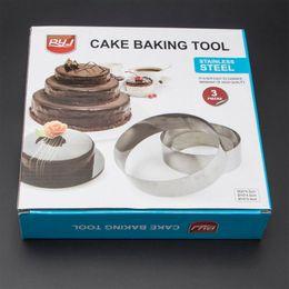 Wholesale Cake Circles Wholesale - Hot Sale Round Stainless Steel Circle Mousse Ring Baking cake Tool 3Pcs Set 3 Layer Cake Mould Bakeware Mold