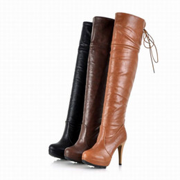 Wholesale Cheap Orange High Heels - Free Shipping Hot Sale 2017 discount high heel pumps boots woman fashion High heel over knee boots for winter cheap girls boots 222