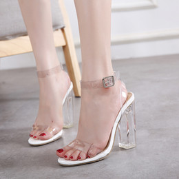Wholesale Transparent Rubber Shoes - Milan transparent white black ankle strap thick high heel crystal shoes fashion summer sandals size 35 to 40