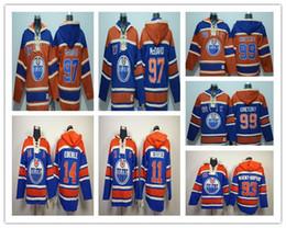 Sweats à capuche jersey de hockey en Ligne-Chandails de hockey à capuchon Old Time d'Edmonton Oiler # 97 Connor McDavid # 99 Chandails de chandail Blue Orange à capuchon # 14 d'Everley de Gretzky # 11