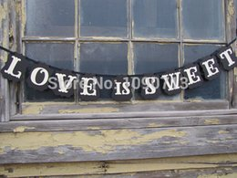 Wholesale Love Sweet Wedding Banner - Wholesale- Free Shipping 1 X Black LOVE IS SWEET Banner Wedding Party Photo Prop Sign Hanging Bunting Garlands