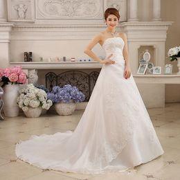 Wholesale Vintage Stock Images - 2017 New Arrival Cheap Vintage Long Train In Stock Wedding Dresses Custom-made Plus Size Bridal Gowns Vestido De Noiva
