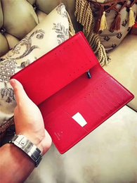 Wholesale Long Leather Credit Card Wallet - 2017 Come With Original Box Logo Paris Premium Red Leather Slender Wallet X Red Wallet 17ss 45 Genuine Leather Outdoor Sport Bag