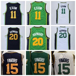 Wholesale Derrick Green - Cheap #20 Gordon Hayward Jersey Men's #15 Derrick Favors Basketball Jerseys #11 Dante Exum White Green Blue Stitched