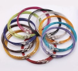 Wholesale Steel Wire Cord Necklace - 100pcs lot Mix Color 18inch Stainless Steel Necklace Cord Wire For DIY Craft Jewelry Findings Components W7* Free Shipping
