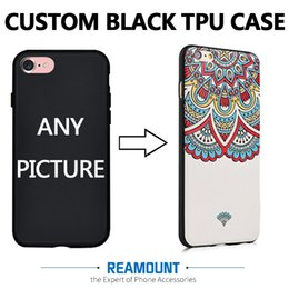 Wholesale Iphone Cell Phone Pictures - DIY Custom Printed Brand Name & Picture Black TPU Smart Phone Back Cover for iphone 7 7plus for iphone 6 6plus Cell Phone Case