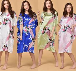 Wholesale Butterfly Robes - Sexy Silk Nightgown Dress Elegant Women Peacock Robe Dress Summer Butterfly Sleeves Silk Sleepwear Robe Casual Nightwear KKA1823
